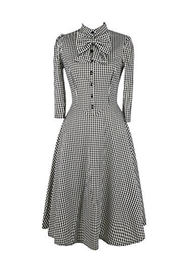 Brinny Femme detachable avec collier Big Un Line Plaid robe peplum Nior