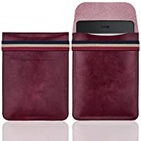 WALNEW 6 Inch Kindle Sleeve - Microfiber leather Lightweight Pouch Case with Elastic Strap Closure for New Kindle, Kindle 4/5, Kindle Touch, Kindle Paperwhite, Kindle Voyage, Wine Red