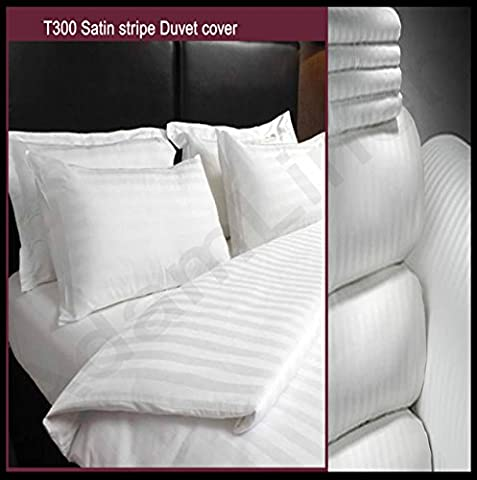 Adam Linens Luxury 5 Star Hotel Quality White 100%Cotton 300 Thread Count Satin Stripe Duvet Cover + Pillowcase Single, Double & King Size (Double) by Adams