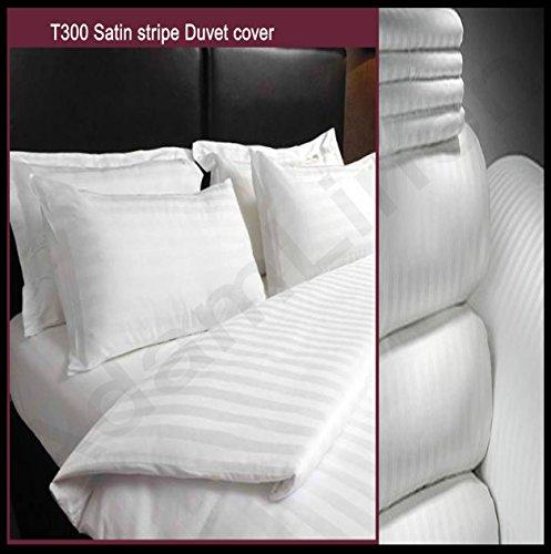 Adam biancheria lusso 5 stelle qualità hotel bianco 100% cotone numero di fili: 300 striscia in raso copripiumino + federa singolo, matrimoniale e king size - bianco, double