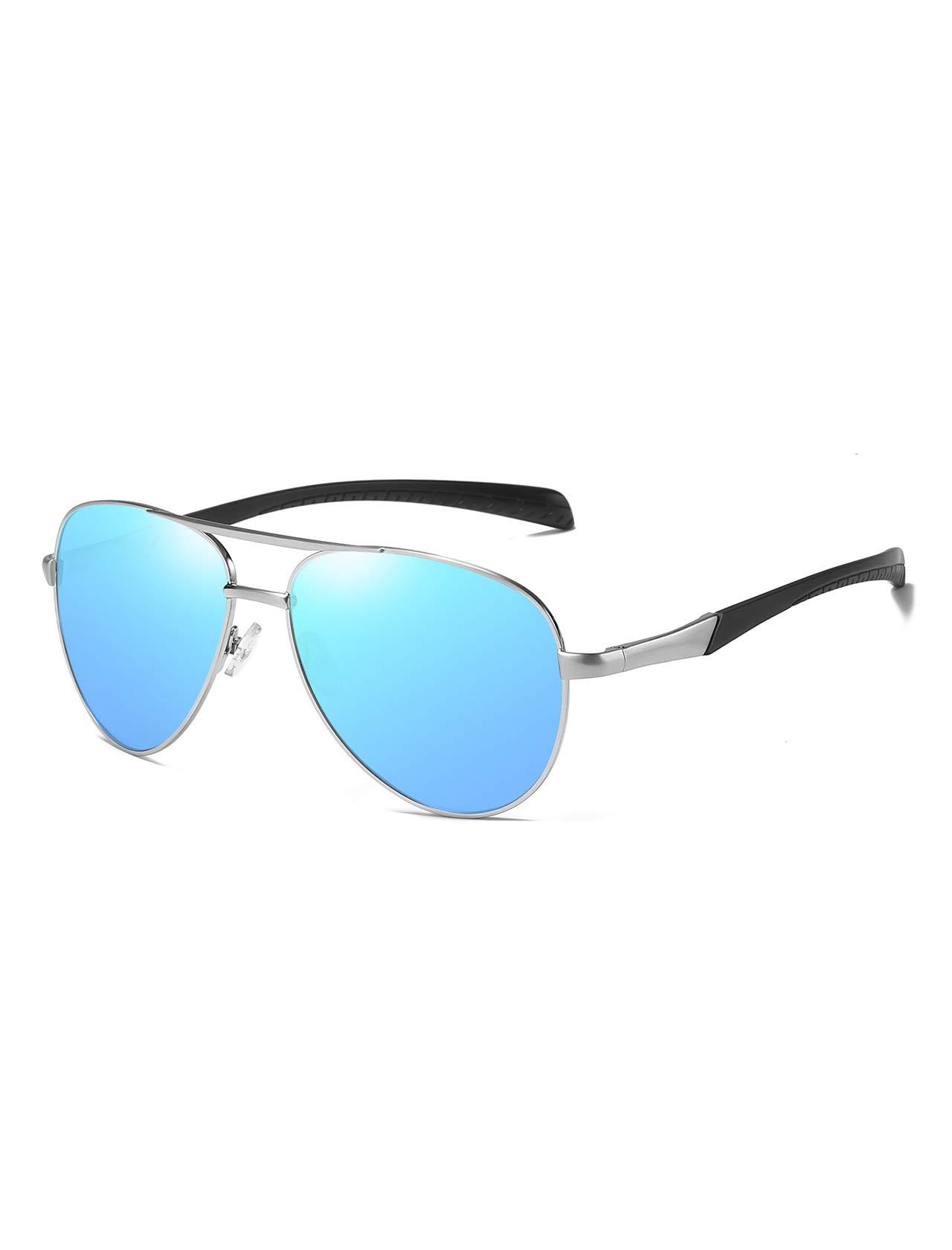 AMEXI Hombre Gafas de Sol polarizadas, Gafas Hombre Polarizadas, Gafas de aviador clásicas, Azul