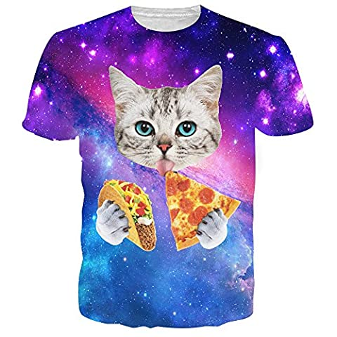 Uideazone Mens 3D Galaxy Katze essen Pizza-Hemd Lustiges Graphic Tee