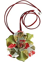 Rétro – Collier pendentif. Grande Superbe Vert Résine Fleur avec Floral bleu  canard au milieu daa1cd2256d2
