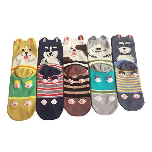 Lvein Damen Karikatur Tier Hund Socken, Schön Interessant Baumwolle Socke (5 ()