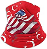 hgbygvuy Turkey Flag with America Flag Scarf Neck Warmer Soft Microfiber Headwear Face Scarf Mask for Cold Weather Winter Outdoor Sports