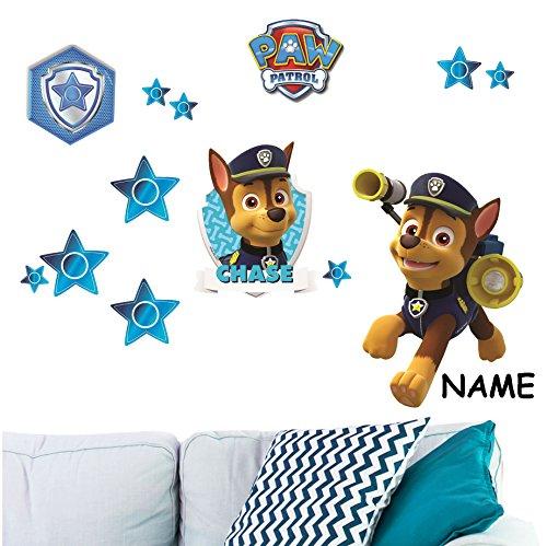alles-meine.de GmbH 13 TLG. Set _ Wandtattoo / Sticker -  Paw Patrol - Polizei Hund Chase  - inkl. Name - Wandsticker - Aufkleber für Kinderzimmer - selbstklebend + wiederverwe..