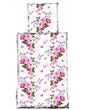 4 tlg Bettwäsche 135 x 200 cm Landhausstil Blume weiß rosa Microfaser 2 Garnituren