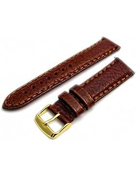 Napoli schwere Luxus Gesteppt Gepolstert echtem Leder Uhrenarmband 18mm Breite braun mit vergoldet (Gold Farbe...
