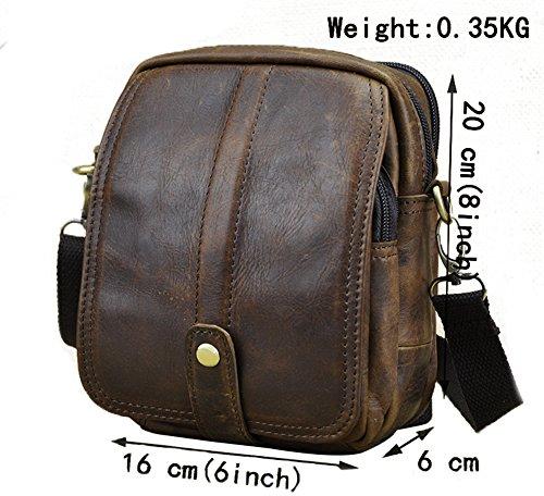 Genda 2Archer Kleine Mini Schulter-Cross Over Tasche Echtes Leder Gürteltasche Hüfttasche (Kaffee) Braun