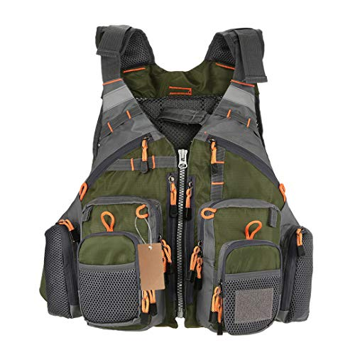 Fly Fishing Vest Adjustable Mesh Mutil-Pocket Outdoor Sport Life ty Jacket Swimming Sail for Fishing Clothes Grey with Foam Mesh-fly Fishing Vest