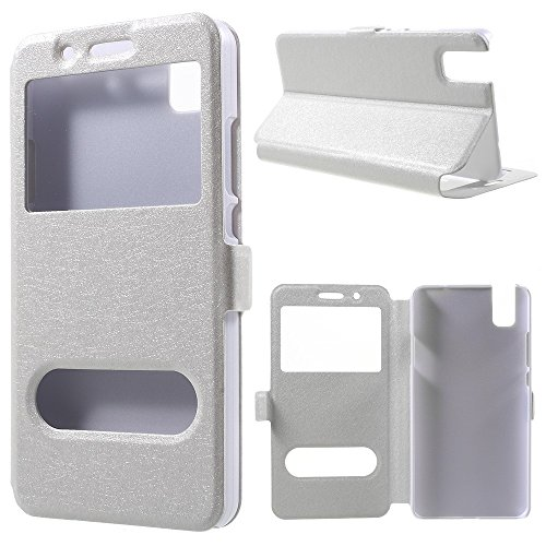 jbTec® Flip Case Handy-Hülle zu Huawei ShotX/Honor 7i - mit Fenster - Handy-Tasche Schutz-Hülle Cover Handyhülle Ständer Bookstyle Booklet, Farbe:Weiß