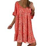 Yvelands Damen Kleid Sexy Loose Print Hlaf Rüschen Minikleid Sommer(rot,EU-40/XL)