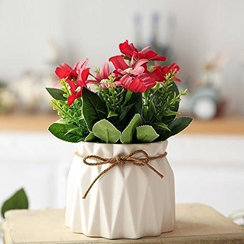 NOHOPE Idyllische Emulation Blumenvasen Topfpflanzen Kit Tabelle florale Kunst Kit Home Decoration Muttertagsgeschenk