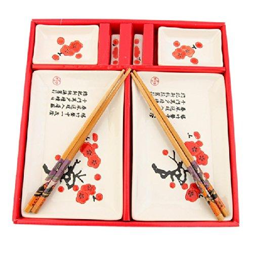 SERVICE à SUSHIS JAPONAIS - Décor Motifs Fleurs de Cerisier