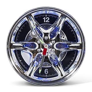 AQS INTERNATIONAL Neon LED Wheel Alloy Rim Wall Clock Home Office Garage Motor Car Home Office Showroom Gift