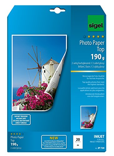 Sigel IP720 InkJet Top Photo Paper, two-sided glossy, bright white, for double-sided printouts, 190 gsm, A4, 20 sheets