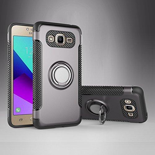 SANHENGMIAO COVER Für Samsung Handy Samsung Galaxy J2 Prime Schutzhülle, ausgestattet mit 360-Grad-Schwenk-Fingernägeln und Magnet-Autoabdeckungen. (Farbe : Grau)