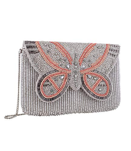 , Clutch aus beigem Stoff mit Klappverschluss in Schmetterlingform aus Perlen in rosa, grau und beige mit Strassstein (726-761) ()