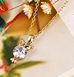 MSYOU Pendant Necklace Zircon Owl Shape Necklace Women Girls Jewelry Gifts for Christmas Thanksgiving Birthday(Silver)