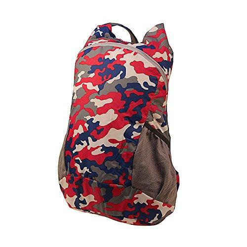 LWJgsa Reise - Rucksack Männer Und Frauen Faltbare Tasche Ultraleicht - Camouflage Tragbares Licht Einfache Rucksack rot - blaue zauberspruch