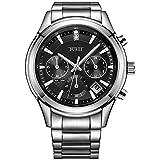 BUREI Herren Chronograph Uhren Einfaches Classic Quarz Armbanduhr mit Weißem Zifferblatt Datum Kalender (Schwarz-E)