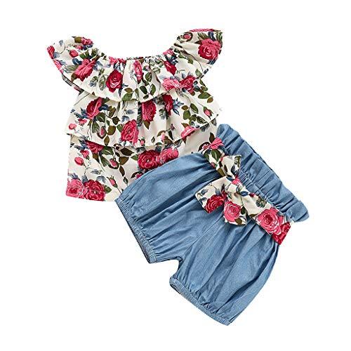 Btruely Verano Recien Nacido Niña Camiseta bebé camisetsa Infantil Fuera del Hombro Estampado Floral Volantes Tops Pantalones Cortos de Arco sólido Trajes