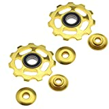 2X 11T Rs Bearing Jockey Pulley Wheel Bike Bicycle Rear Derailleur Aluminum Gold