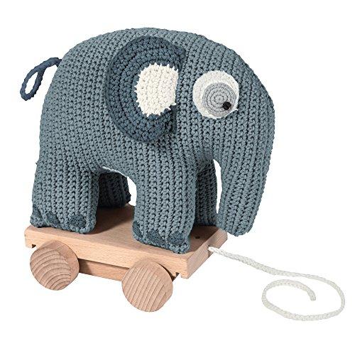 Sebra Ziehtier Elefant auf Rädern aus Baumwolle & Holz, gehäkelt, in blau (ab 1 Jahr)
