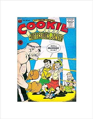 SUPER HERO COVER ACG BOOK COOKIE 54 VINTAGE RETRO COMIC FRAMED ART PRINT B12X390