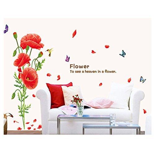 Kuke Rote Mohnblume blüht Wohnzimmer Schlafzimmer Entfernbare Wandaufkleber Abziehbilder