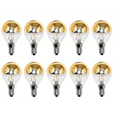 10 x LED Filament Tropfen Glühbirne 2W = 25W E14 Kopfspiegel gold warmweiß 2700K KVG