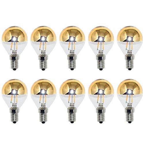 10 x LED Filament Tropfen Glühbirne 2W = 25W E14 Kopfspiegel gold warmweiß 2700K KVG -