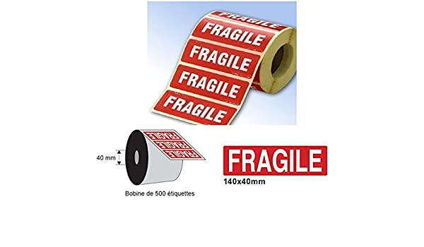 /Étiquettes dexp/édition 165 X 55 mm de signalisation imprim/ées mention Grande Etiquettes de signalisation FRAGILE rouleau de 500 ex /Étiquettes dexp/édition fragile Etiquetage signalisation pour PALETTE GROS COLIS