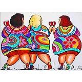 EoamIk Mantieni pulito il pavimento Pittura di diamante delle donne di obesità, diamante di strass 5D incollato pittura a punto croce decorazioni per la casa