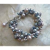 Perlenarmband , Hochzeit Schmuck, grau und altrosa Süßwasserperlen