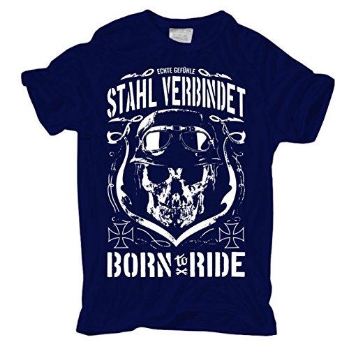 Männer und Herren T-Shirt Biker Spruch Stahl verbindet (mit Rückendruck)