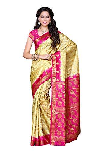 Mimosa Women's Traditional Art Silk Saree Kanjivaram Style With Blouse Color:Tassar(3305-103-2D-TSSR )  available at amazon for Rs.1499