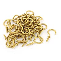 DealMux 50 Pcs 3mm Brass Plated Shouldered Cup Hook Screw in Hat Coat Peg Bolts