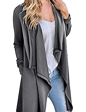 Styledome Damen Offen Langarm Wasserfall Cardigan Cover Up Casual Outwear Jumper Lose Asymmetrisch Trench Coats...