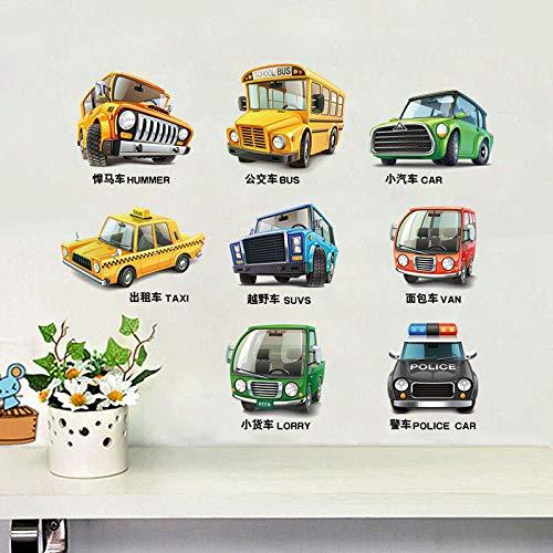 (Kang Wandtattoos Wandbilder Wanddeko Aufkleber Abziehbilder Dekorationen Wand-Dekor Chuck Auto mit Curriculum Kinder Boys School grüne Zimmer)