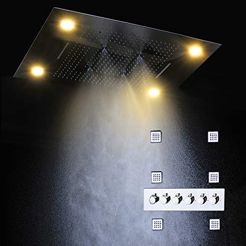 YAMEIJIA Luxus Thermostat Wasserhahn Dusche versteckt Regen Dusche Panel Massage Wasserfall Nebel Wasserhahn 5-Wege LED elektrische Dusche