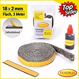 Temprix Kamindichtung 18 x 2 mm - 3 Meter inkl. Kleber (18 x 2 mm - 3 Meter (Topseller)) - feuerfeste Ofenschnur bis 650°C temperaturbeständig.