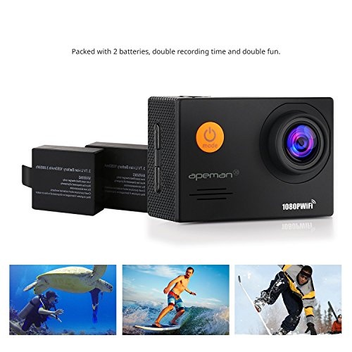 "APEMAN Action Camera Underwater Camera Wi-Fi 1080P 14MP Waterproof up to 30m 2.0"" LCD 170°Ultra Wide-Angle Two 1050mAh Batteries with Portable Case and Kit of Accessories"
