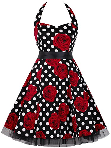 MERRYA Robe de Soirée Cocktail Fête Vintage 1950's Audrey Hepburn Mode Halter Noir&Rouge