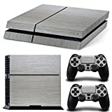 Stillshine Decal Full Body Wood Faceplates Skin Sticker For Sony Playstation 4 PS4 console x 1 and controller x 2 (sliver)