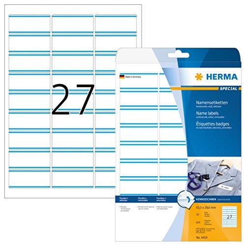 ketten (63,5 x 29,6 mm auf DIN A4) rückstandsfrei ablösbar aus Acetatseide, selbstklebende, bedruckbar, 675 Textiletiketten auf 25 Blatt, weiß mit blauen Streifen ()