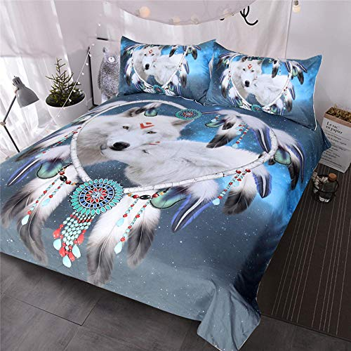 ZMK-720 Wölfe Paar Bettwäsche Set 3D Print White Wolf Bettbezug Tribal Animal Galaxy Bett Set Herz Tagesdecke @ 264Cmx228Cm (In Der Home-baby-herz-monitor)