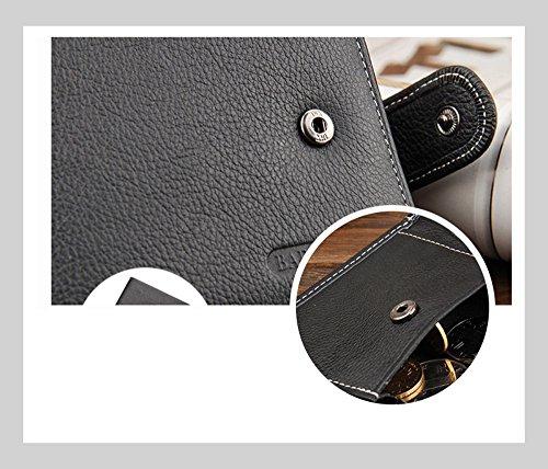 Männer Geldbörse AlfarTec Leder Geldbörsen Männlich Geldbörse Geld Kreditkarte Inhaber Genuine Münze Tasche Brand Design Geld Brieftasche Clutch (LightCoffee) Coffee