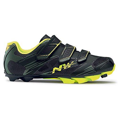 Northwave Scorpius 2 zapatos bicicleta de montaña, black-Military/ Yellow fluo, Tamaño:gr. 42