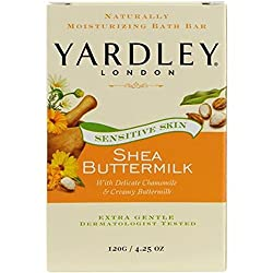 Yardley London Sensitive Skin Shea Buttermilk W/Chamomile & Creamy Buttermilk Bath Bar 4.25oz (1 Bar).